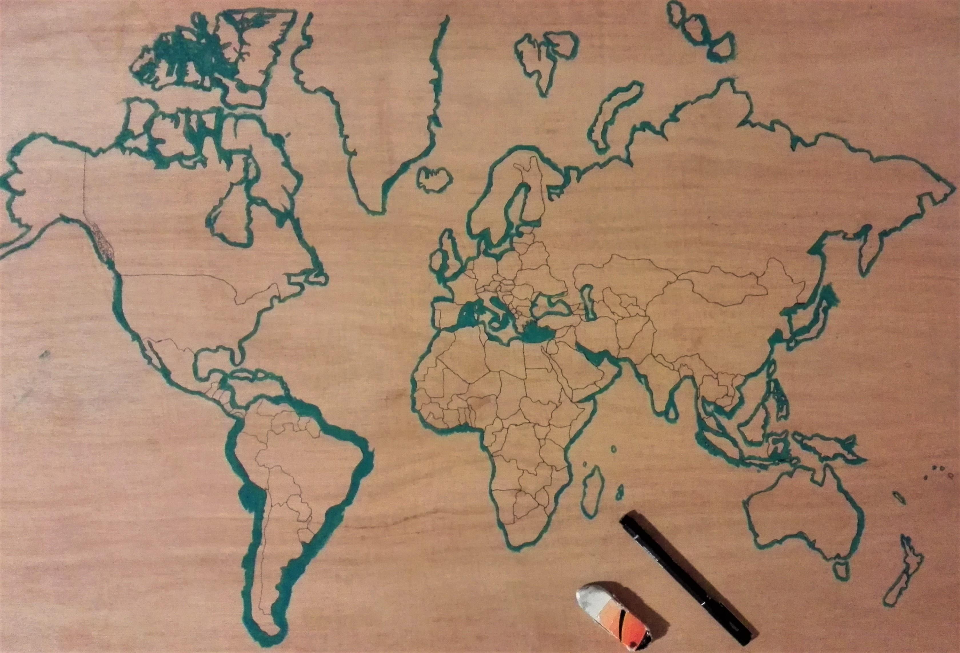 mappe monde à créer: le tour du monde en peinture