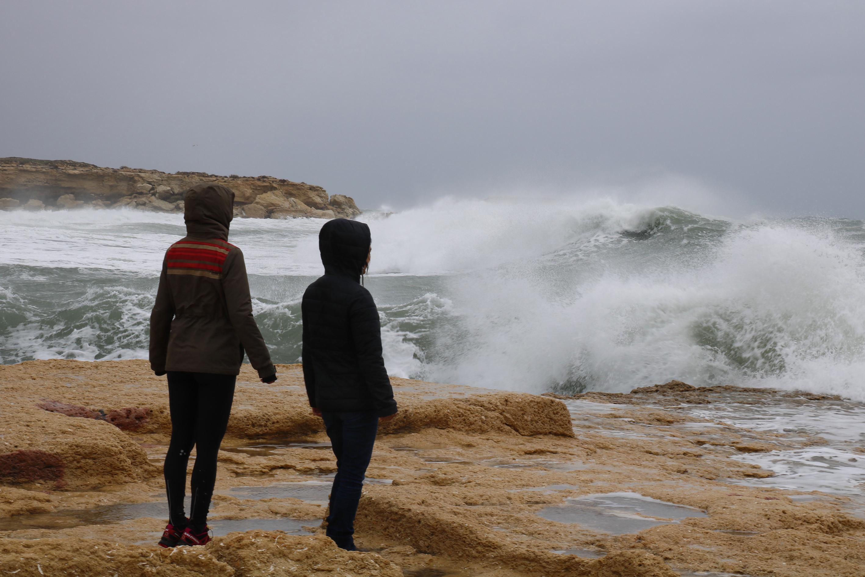 surfeuse, mer déchaînée, vagues, méditerranée
