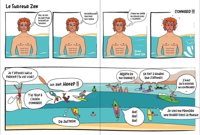 BD humoristiques sur les surfeurs: le surfeur zen